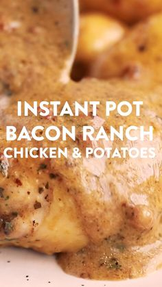 Try these Instant Pot Bacon Ranch Chicken and Potatoes when you're short on time - it's so quick to prep and tastes amazing! This is an easy instant pot recipe, perfect for beginners. The cream sauce turns out absolutely delicious! Recipe includes tips to Best Instant Pot Recipe, Instant Pot Dinner Recipes, Instant Pot Potato Recipe, Recipes Dinner, Drink Recipes, Yummy Recipes, Instant Pot Pressure Cooker, Pressure Cooker Recipes, Slow Cooker