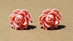 Salmon Pink Rose Flower Girly Plugs - 6g, 4g, 2g, 0g, 00g - Robin Yarrington Designs - ryarr.com