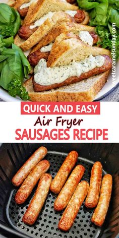 Easy Air Fryer Sausages show you how to make uncooked (raw) beef, chicken or pork sausages in the Air Fryer. This simple recipe is perfect for a quick dinner or meal prep! #easyrecipes #airfryerrecipes #dinnerrecipes @sweetcaramelsunday