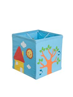 "Lampenschirm ""Happy Home"" in blau/ bunt - (B)24 x (H)24 x (T)24 cm"