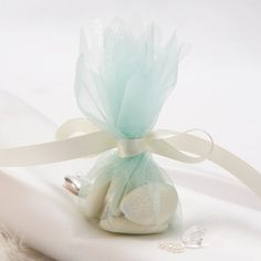 aqua tulle and ribbon - super cheap favor bags!