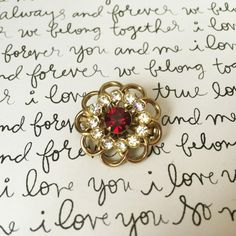 Red and Gold Brooch, Red Rhinestone Brooch, Small Gold Brooch, Red Gemstone Brooch, Ruby and Diamond Brooch, Small Pin, Rhinestone Jewelry by FemByDesign on Etsy
