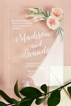 This is one wedding detail that will wow your guests! Stunning clear invitations printed on Acrylic Wedding Invitations, Unique Wedding Invitations, Invites, Quinceanera Invitations, Wedding Signs, Diy Wedding, Wedding Menu, Budget Wedding, Destination Wedding