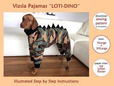 DOWNLOAD SEWING PATTERN / Vizsla Dinosaur Pajamas - sizes XLarge and XXLarge / Paper sizes: A4 - Let
