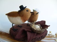 Birds  Needle Felted Wedding Cake Topper by felttess on Etsy