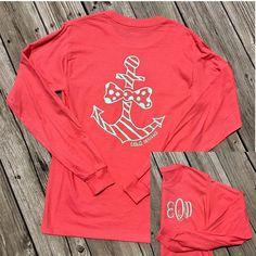 Monogrammed Preppy Anchor Long Sleeve Shirt. Monogrammed