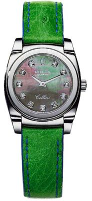 5310/9  ROLEX CELLINI CESTELLO LADIES LUXURY WATCH  Usually ships within 4 weeks - FREE Overnight Shipping- NO SALES TAX (Outside California) - WITH MANUFACTURER SERIAL NUMBERS- Black Mother of Pearl Diamond Dial- Battery Operated Quartz Movement- 3 Year Warranty- Guaranteed Authentic - Certificate of Authenticity- Polished 18K White Gold Case - Green Leather Strap with Crocodile Pattern - Scratch Resistant Sapphire Crystal- Manufacturer Box