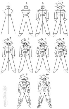 How to Draw Goku Step by Step Drawing Tutorial with Pictures | Cool2bKids