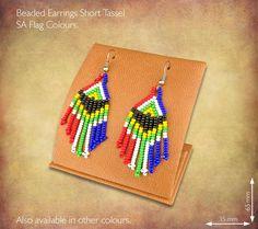 African Beaded Earrings Short Tassel Design - SA Flag Colours