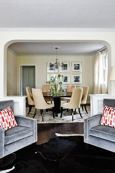 Sarah Richardson Designs -living room with archway leading to dining room