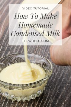 Learn the secret to your own Condensed Milk Homemade Recipe using only 2 simple ingredients. Get the details and watch the video tutorial too. Condensed Milk Desserts, Homemade Sweetened Condensed Milk, Indian Dessert Recipes, Homemade Recipe, Homemade Biscuits, Baking Ingredients, Food Videos, Sweet Recipes, Cooking Recipes