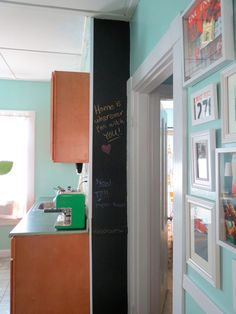 Chalkboard wall in the kitchen -- Plaster & Disaster