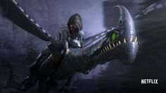 Heather the mysterious dragon rider and her own dragon the Razorwhip named Windshear from Dreamworks Dragons: Race to the Edge