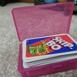 use plastic soap travel containers to corral small things like playing cards and crayons