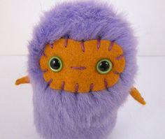 SALE Bellina the plush monster miniature lavendar lilac gold stuffed animal Little Uggle