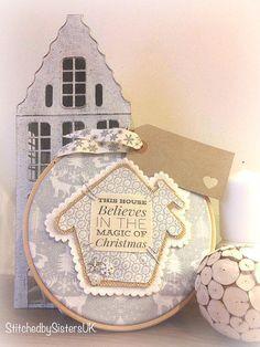 Handmade this house believes christmas hoop art personalised