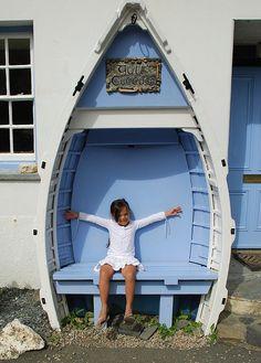 Blue Garden Boat Bench-cute