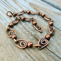 Swirls and Dots - antiqued copper wire wrap bracelet: Swirls and Dots - antiqued copper wire wrap bracelet