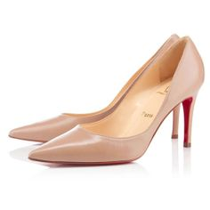 1ea39c83115 Online Sexy Christian Louboutin Decoltissimo 85 mm Leather Pumps Beige Red  Sole Shoes