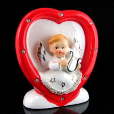 Vtg NAPCO/LEFTON ANGEL HARP Vase Figurine Valentine's Day Heart Planter