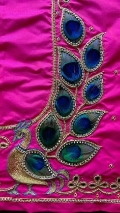 37. Real peacock feather maggam work blouse