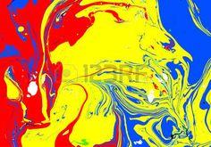 Abstract background Encre Peinture style de marbre Liquide rouge et jaune bleu dans l eau  Banque d'images