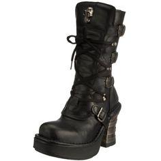 Womens M.373QX-S3 Black Leather Boots 37 EU New Rock 4cRy3Zz6D