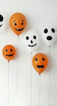 decoración para halloween con globos pintados #trucos #decoracion #halloween #DIY #manualidades
