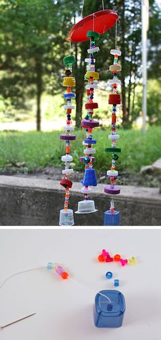 Recycled Plastic Lid Windchime | Click Pic for 22 DIY Mothers Day Craft Ideas for Kids to Make | DIY Mothers Day Crafts for Preschoolers to Make