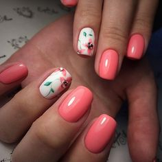 Fashionable manicure with a picture - great photo ideas of nail art for stylish women Nail Swag, French Nails, French Manicures, Red Nails, Hair And Nails, Coral Ombre Nails, Coral Nails With Design, Coral Nail Designs, Trendy Nail Art