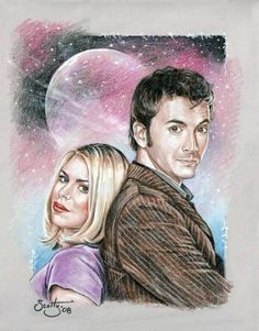 "The Doctor and Rose by Scotty    David Tennant as ""the 10th Doctor""     Billie Piper as ""Rose Tyler"""