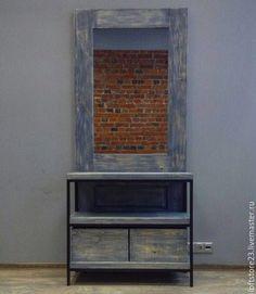 Купить Стеллаж с зеркалом RACK DOOR. - голубой, дверь, стеллаж, дверь стеллаж, полки, металл