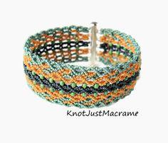 Sage Marina and Mustard Micro Macrame Cuff por KnotJustMacrame