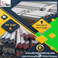 Shree Ji Steel Corporation supplies a wide range of Mild Steel (MS) Angles and Galvanized Steel Angles. These are used for manufacturing of truck-trailers, EOT crane and Gantry, escalators and elevators, ship building, factory sheds, bus body, communication and transmission towers, conveyors, boilers, agricultural equipment, and construction of bridges, scaffolding and many more fabrication and engineering industries.