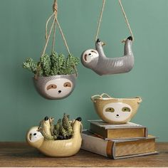 Cute Sloth Hanging Planter Indoor, Ceramic Planter, Air Plant Holder, Sloth Gifts Succulent Planter, – Famous Last Words Indoor Ceramic Planters, Recycled Planters, Indoor Plant Pots, Diy Planters, Hanging Planters, Face Planters, Indoor Herbs, Succulent Planters, Indoor Gardening
