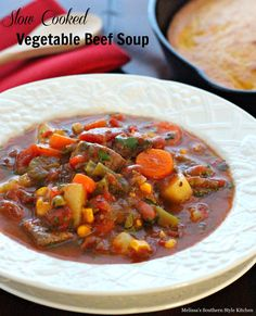 Slow Cooked Vegetable Beef Soup - Old fashioned vegetable beef soup is such a comforting dish. Ideal for preparing in your slow cooker, the depth of flavor alone makes it worth the small amount of effort it takes.