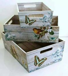 Super furniture from wooden crates Decoupage Vintage, Shabby Vintage, Decoupage Box, Shabby Chic, Vintage Decor, Diy Projects To Try, Wood Projects, Wood Crafts, Diy And Crafts