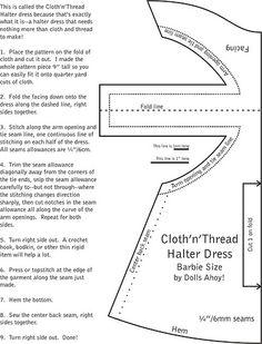 The Cloth'n'Thread Halter Dress, Barbie Size | by Dolls Ahoy
