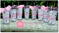 Monogram acrylic dotted cups for bridesmaid, girlfriends, church groups, or perhaps baby shower favors! Creative Gifts, Cool Gifts, Craft Gifts, Diy Gifts, Bridesmaid Cups, Personalized Bridesmaid Gifts, Baby Shower, Inspirational Gifts, Homemade Gifts