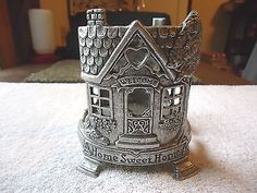 """Vintage Carson Pewter Glass Candle Holder """" BEAUTIFUL COLLECTIBLE USEABLE ITEM """" #vintage #collectibles #home"""