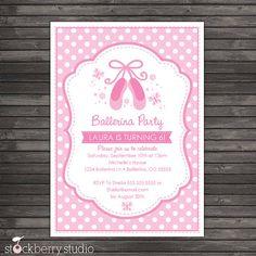 Ballerina Birthday Invitation Pink Birthday por stockberrystudio