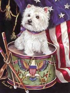 "Westie ""Lil Drummer"" Garden Flag. BENEFITS WESTIE RESCUE OF MICHIGAN. From an original painting by Suzanne Renaud. Approx.12 in X 18 in, weather resistant, double sided, $17.00. Free Ship USA, Will ship international. www.ebay.com/itm/WESTIE-LIL-DRUMMER-GARDEN-FLAG-FREE-SHIP-USA-RESCUE/151503707477?_trksid=p2047675.c100009.m1982&_trkparms=aid%3D777000%26algo%3DABA.MBE%26ao%3D1%26asc%3D29905%26meid%3D72769b3dd4374eb8806abeddc8921eb3%26pid%3D100009%26rk%3D1%26rkt%3D1%26sd%3D151062299955…"