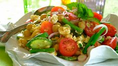 SPICY MINT AND FETA CHICKPEA SALAD - This bright, spicy and refreshing salad would be delicious served with grilled lamb chops or even on its own!