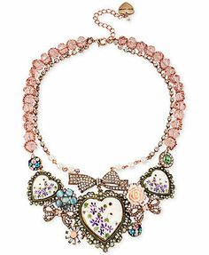 Betsey Johnson Two-Tone Crystal, Faux Pearl and Heart Frontal Necklace