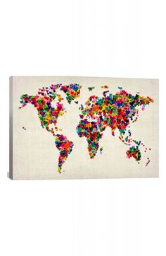 'World Map Hearts - Michael Thompsett' Giclée Print Canvas Art