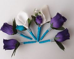 Really Like This Idea Of Purple Flowers With Blue Wraps
