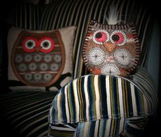 Wool Pillow Applique  Hoot and her Baby  owl by TwistedKnickersInc