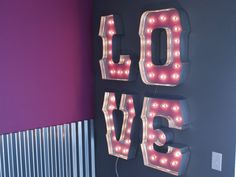 WILD LOVE with SILVER edging globe lights and Special Spacing: alphabet light sign