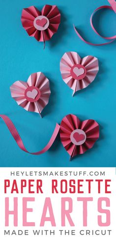 Paper Rosette Hearts using the Cricut Use the scoring capabilities of your Cricut Explore or Maker to craft these Paper Rosette Hearts for Valentine& Day! The Cricut makes it easy to make these cute Valentine& Day decorations. Easy Valentine Crafts, Valentines Day Party, Valentines Day Decorations, Valentine Ideas, Valentine's Day Paper Crafts, Paper Folding Crafts, Paper Crafting, Paper Rosettes, Valentine's Day Printables