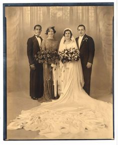 Vintage 8x10 Photo Beautiful Bride Groom Wedding Party Portrait Antique Aug17 b | eBay